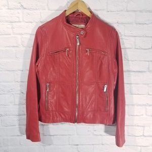 Michael Kors Red Leather Motorcycle Jacket
